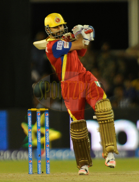 Virat Kohli captain of Royal Challengers Bangalore bats during match 22 of the Pepsi IPL 2015 (Indian Premier League) between The Rajasthan Royals and The Royal Challengers Bangalore held at the Sardar Patel Stadium in Ahmedabad , India on the 24th April 2015.<br /> <br /> Photo by:  Pal Pillai / SPORTZPICS / IPL