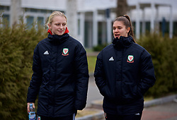 BOLOGNA, ITALY - Tuesday, January 22, 2019: Wales' Elise Hughes (L) and goalkeeper Claire Skinner during a pre-match walk at the team hotel in Bologna ahead of the International Friendly game against Italy. (Pic by David Rawcliffe/Propaganda)
