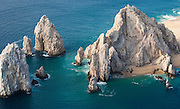 Lands end from the sky including the magnificent arch of Cabo San Lucas.