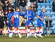 Gillingham forward Dominic Samuel celebrates his goal during the Sky Bet League 1 match between Gillingham and Crewe Alexandra at the MEMS Priestfield Stadium, Gillingham, England on 12 March 2016. Photo by David Charbit.