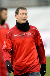 04.03.2014, AFG Arena, St. Gallen, SUI, Training der Schweizer Nationalmannschaft, vor dem Testspiel gegen Kroatien, im Bild Stephan Lichtsteiner (SUI) // during a practice session of swiss national football team prior to the international frindley against Croatia at the AFG Arena in St. Gallen, Switzerland on 2014/03/04. EXPA Pictures © 2014, PhotoCredit: EXPA/ Freshfocus/ Andy Mueller<br /> <br /> *****ATTENTION - for AUT, SLO, CRO, SRB, BIH, MAZ only*****