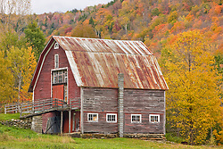 A barn in Vermont's Green Mountains.  Hancock, Vermont.