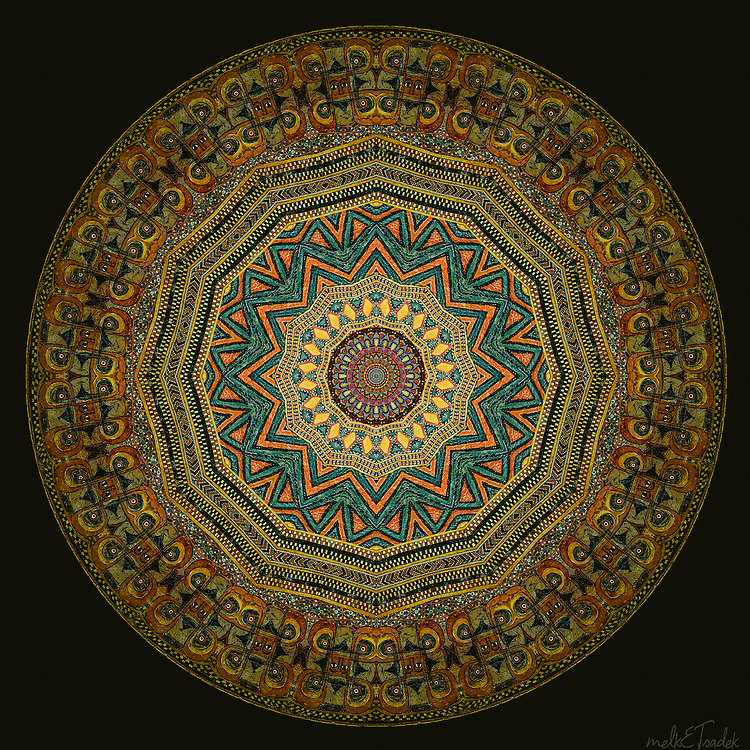 "Sacred art mandala inspired by ancient manuscripts with colors ranging from orange-gold to emerald green and geometrically ""feng shuied"" tailsmanic symbols from Ethiopia."