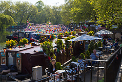 Perfect weather at Little Venice in London where the annual May bank holiday Canalway Cavalcade narrowboat festival is taking place. London, May 06 2018.