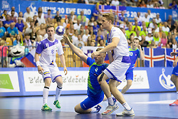 Kristjan Horzen of Slovenia during handball match between National teams of Slovenia and Iceland in Main Round of 2018 EHF U20 Men's European Championship, on July 25, 2018 in Arena Zlatorog, Celje, Slovenia. Photo by Urban Urbanc / Sportida