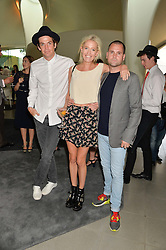 Left to right, HUGO HEATHCOTE, the HON.SOPHIA HESKETH and LYONEL TOLLEMACHE at a summer drinks party hosted by Bec Astley Clarke at the Serpentine Sackler Gallery, Hyde Park, London on 17th June 2014.