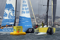 November 3, 2017 - Lisbon, Portugal - Team Brunel captained by Dutch Bouwe Bekking (R ) and Turn the Tide on Plastic team captained by Britain Dee Caffari in action during the Volvo Ocean Race 2017-2018 In-port Race at the Tagus River in Lisbon, Portugal on November 3, 2017. (Credit Image: © Pedro Fiuza/NurPhoto via ZUMA Press)