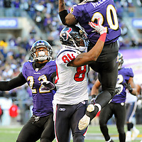 15 January 2012: Baltimore Ravens free safety Ed Reed (20) picks off a pass in the 4th quarter intended for Houston Texans wide receiver Andre Johnson (80) in the Divisional Playoff at M&T Bank Stadium in Baltimore, MD. The Ravens defeated the Texans 20-13 to advance to the AFC Championship game..