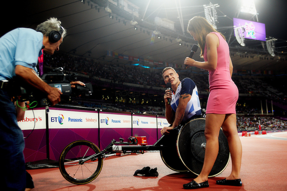 David Weir of Great Britain is interviewd by Channel 4 on day 6 of the London 2012 Paralympic Games. 4th September 2012.