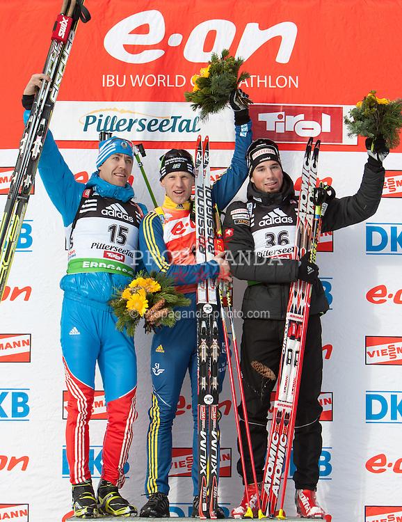 09.12.2011, Biathlonzentrum, Hochfilzen, AUT, E.ON IBU Weltcup, 2. Biathlon, Podium Herren 10km Sprint, im Bild v.l.n.r. Andrei Makoveev (RUS, Andrei Makoveev (RUS, Rang 2), Carl Johan Bergman (SWE, Rang 1) und Benjamin Weger (SUI, Rang 3) // f.l.t.r. second place Andrei Makoveev of Russia, first place  Carl Johan Bergman of Sweden and dirt place Benjamin Weger of Suisse on podium men 10km Sprint at E.ON IBU Worldcup 2th Biathlon, Hochfilzen, Austria on 2011/12/09. EXPA Pictures © 2011, PhotoCredit: EXPA/ Johann Groder