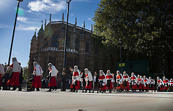 © Licensed to London News Pictures. 03/10/2016. London, UK. Judges walk to Parliament after attending a Service at Westminster Abbey. The Service heralds the start of the legal year in the United Kingdom  - the fourth term of the legal year, known as Michaelmas term. Photo credit: Peter Macdiarmid/LNP
