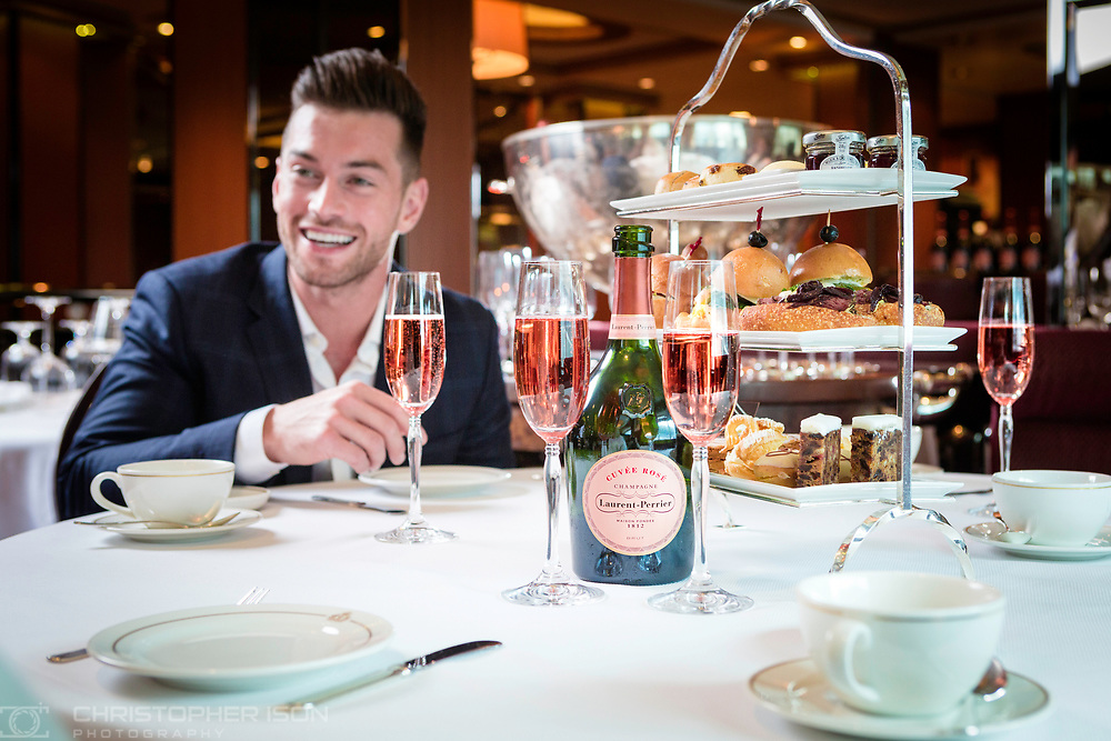 Laurent-Perrier Cuv&eacute;e Ros&eacute; Champagne Afternoon Tea on board Cunard's Queen Victoria.<br /> Picture date: Monday June 5, 2017.<br /> Photograph by Christopher Ison &copy;<br /> 07544044177<br /> chris@christopherison.com<br /> www.christopherison.com