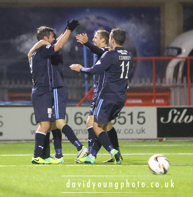 Peter MacDonald is congratulated after his goal - Hamilton Academical v Dundee, SPFL Championship at New Douglas Park<br /> <br />  - &copy; David Young - www.davidyoungphoto.co.uk - email: davidyoungphoto@gmail.com