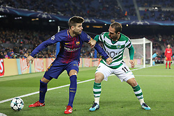 December 5, 2017 - Barcelona, Catalonia, Spain - GERARD PIQUE of FC Barcelona duels for the ball with BRUNO CESAR of Sporting CP during the UEFA Champions League, Group D football match between FC Barcelona and Sporting CP on December 5, 2017 at Camp Nou stadium in Barcelona, Spain. (Credit Image: © Manuel Blondeau via ZUMA Wire)