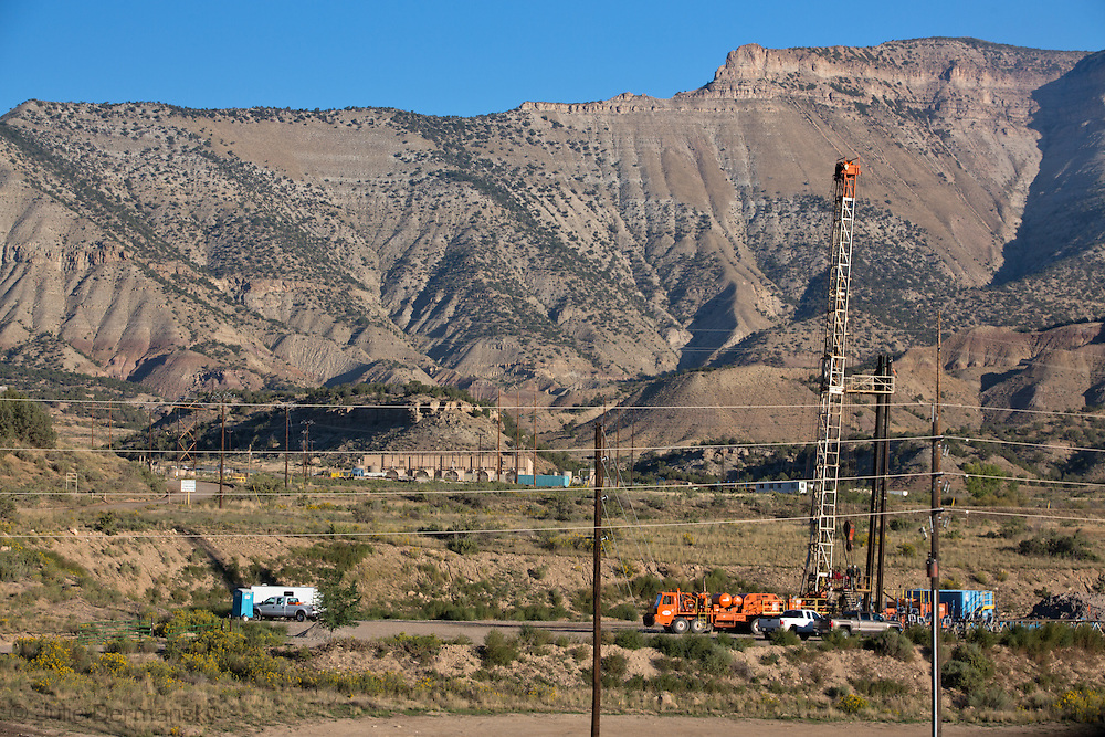 Workover rig at a fracking industry site in Parachute, Colorado in Garfield County.