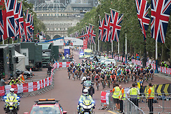 The peloton starts the first proper lap of the Prudential RideLondon Classique, a 66 km road race in London on July 30, 2016 in the United Kingdom.