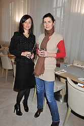 Left to right, BIANCA HART and TAMSIN DE ROEMER at a ladies breakfast hosed by At Last! held at Grace, 11c West Halkin Street, London on 29th January 2013.