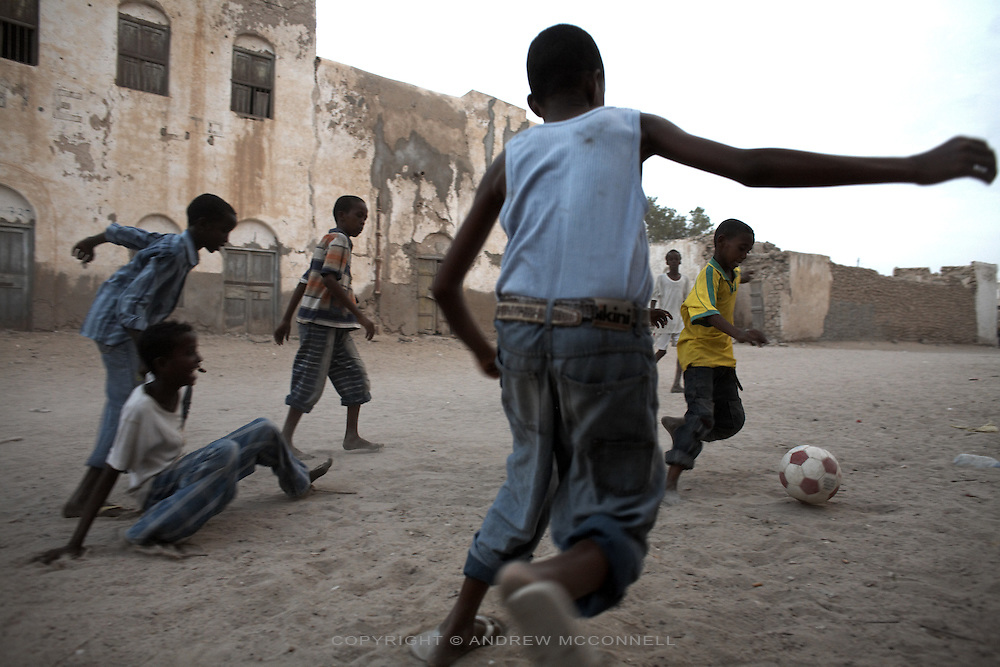 Children play soccer in the port town of  Berbera, Somaliland.