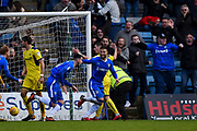 Gillingham FC forward Conor Wilkinson (10) scores a goal (1-1) and celebrates with team mate Gillingham FC defender Max Ehmer (5)  during the EFL Sky Bet League 1 match between Gillingham and Oxford United at the MEMS Priestfield Stadium, Gillingham, England on 26 December 2017. Photo by Martin Cole.