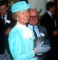 The Duchess of Kent at the House of Sport during a two-day visit to N Ireland, February, 1986. Also in the photo is Victor Haslett, NI Sports Council. 1986020501<br />