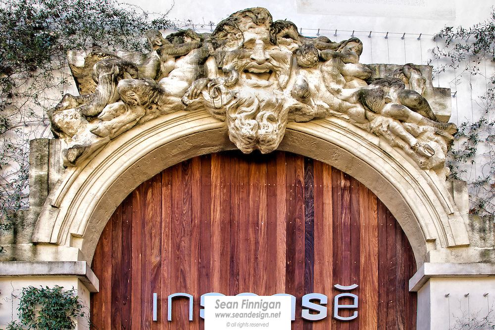 The sculptured façade above the entrance of the Insensé restaurant, at the Musée Fabre, Montpellier's famed Modern Art Museum…   Insensé means senseless, wild or crazy, but the cuisine is exquisite!