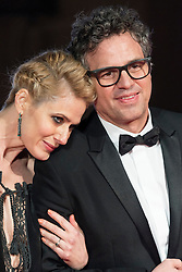 © Licensed to London News Pictures. 14/02/2016. London, UK. SUNRISE COIGNEY and MARK RUFFALO  arrive on the red carpet for the EE British Academy Film Awards 2016 after party held at Grosvenor House . London, UK. Photo credit: Ray Tang/LNP Photo credit: Ray Tang/LNP