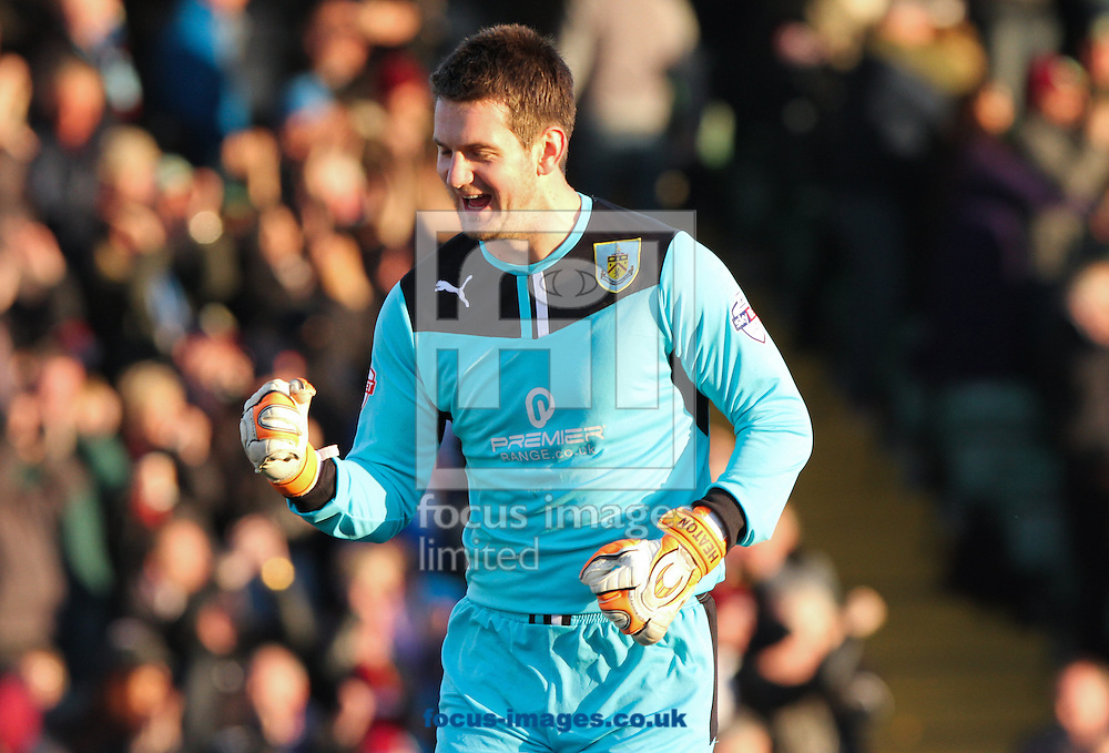Picture by Tom Smith/Focus Images Ltd 07545141164<br /> 11/01/2014<br /> Thomas Heaton of Burnley celebrates his side going 1-0 up during the Sky Bet Championship match at Huish Park, Yeovil.