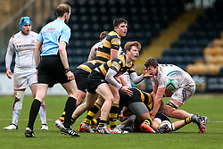 Will Porter (capt) of Wasps U18 in action - Rogan Thomson/JMP - 16/02/2017 - RUGBY UNION - Sixways Stadium - Worcester, England - Wasps U18 v Exeter Chiefs U18 - Premiership Rugby Under 18 Academy Finals Day 3rd Place Play-Off.