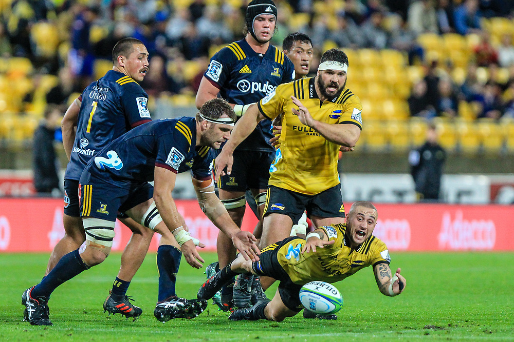 TJ Perenara dives for the ball during the super rugby union  game between Hurricanes  and Highlanders, played at Westpac Stadium, Wellington, New Zealand on 24 March 2018.  Hurricanes won 29-12.