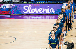 Luka Doncic of Slovenia and othert players of Slovenia listening to the National anthem during basketball match between National Teams of Finland and Slovenia at Day 3 of the FIBA EuroBasket 2017 at Hartwall Arena in Helsinki, Finland on September 2, 2017. Photo by Vid Ponikvar / Sportida