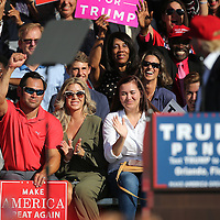 Republican presidential candidate Donald Trump acknowledges former Major League Baseball player Johnny Damon during a rally at the Central Florida Fairgrounds in Orlando, Florida USA  02 Nov 2016
