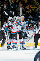 KELOWNA, CANADA - DECEMBER 27: James Hilsendager #2, Nick Merkley #10, Rodney Southam #17 and Conner Bruggen-Cate #20 of the Kelowna Rockets celebrate a goal against the Kamloops Blazers on December 27, 2016 at Prospera Place in Kelowna, British Columbia, Canada.  (Photo by Marissa Baecker/Shoot the Breeze)  *** Local Caption ***