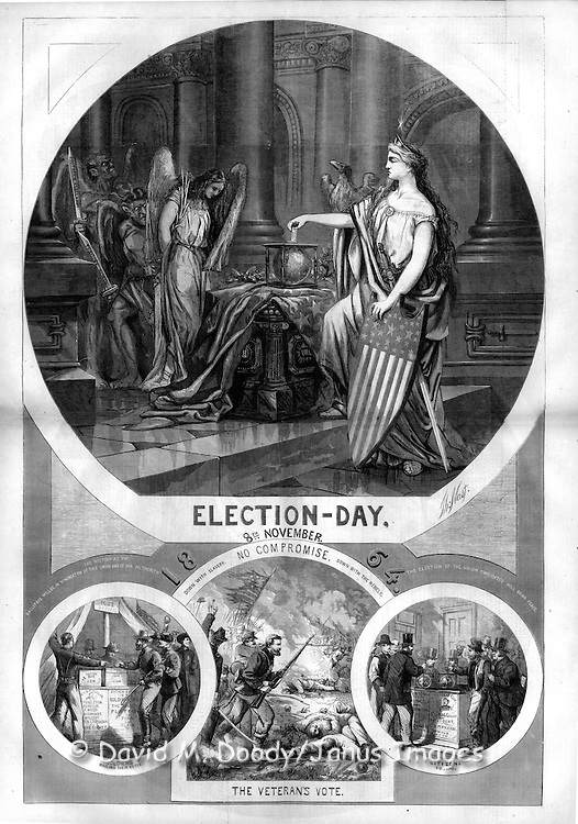 """Election Day November 8, 1864, No Compromise, the Veterans Vote""  Harper's Weekly November 12, 1864  by Thomas Nast Politics in the 1864 Presidential Election. Civil War"