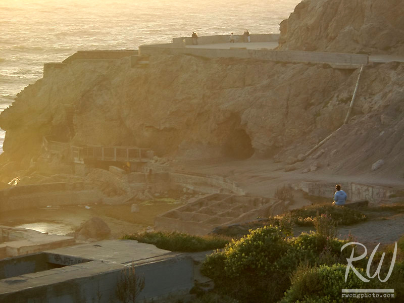 People Watching a Sunset at Sutro Ruins, San Francisco, California