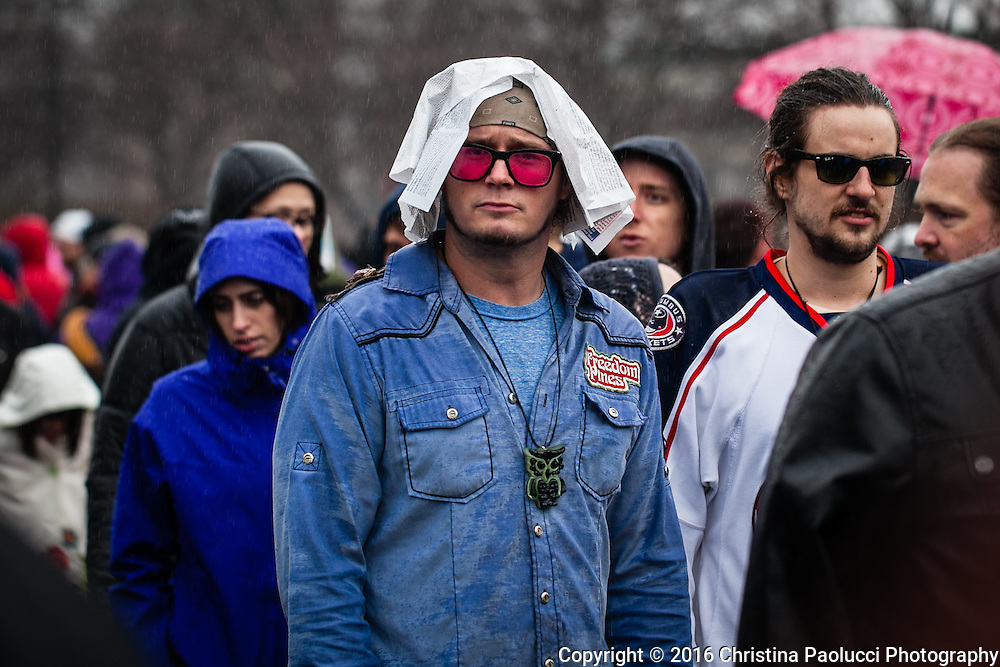 Bernie Sanders rally Sunday March 13th at the Schottenstein Center in Columbus, Ohio where many supports stood in the rain for two hours to get in the area. (Christina Paolucci, photographer).