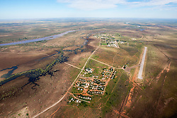 Fitzroy Crossing township from the air showing the town site and the airodrome.