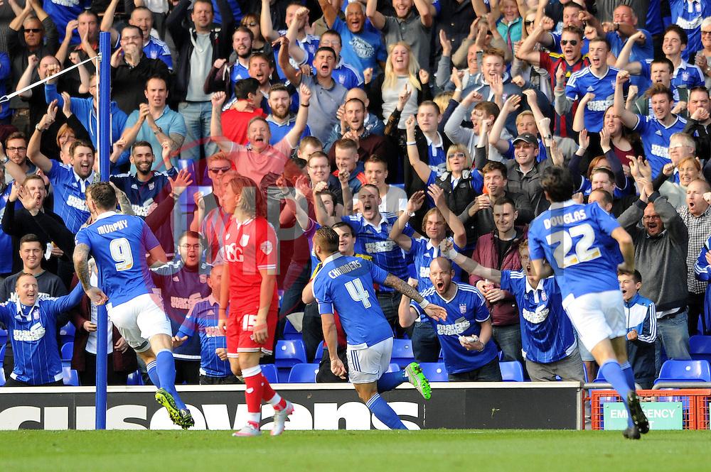 Luke Chambers of Ipswich Town celebrates after scoring the opening goal - Mandatory byline: Dougie Allward/JMP - 07966 386802 - 26/09/2015 - FOOTBALL - Portman Road - Ipswich, England - Ipswich Town v Bristol City - Sky Bet Championship