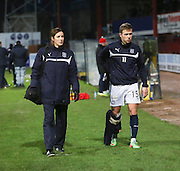 Dundee's Greg Stewart with ice pack on his injured knee - Dundee v Inverness Caledonian Thistle, SPFL Premiership at Dens Park <br /> <br />  - &copy; David Young - www.davidyoungphoto.co.uk - email: davidyoungphoto@gmail.com