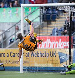 Alloa Athletic's Jason Marr saves Falkirk&rsquo;s Lee Miller shot. <br /> Falkirk 2 v 0 Alloa Athletic, Scottish Championship game played 5/3/2016 at The Falkirk Stadium.