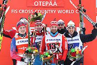 Langrenn<br /> FIS World Cup<br /> 18.01.2015<br /> Foto: Gepa/Digitalsport<br /> NORWAY ONLY<br /> <br /> OTEPÄÄ - ESTLAND<br /> <br /> FIS World Cup, team sprint, men, award ceremony. Image shows Anders Gløersen, Finn Hågen Krogh (NOR), Sergey Ustiugov, Alexey Petukhov (RUS) and Dietmar Noeckler, Federico Pellegrino (ITA).