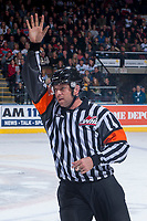KELOWNA, CANADA - APRIL 30: Referee Regan Vetter on April 30, 2017 at Prospera Place in Kelowna, British Columbia, Canada.  (Photo by Marissa Baecker/Shoot the Breeze)  *** Local Caption ***