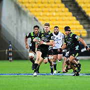 Jordie Barrett runs with the ball during the Super Rugby union game between Hurricanes and Sunwolves, played at Westpac Stadium, Wellington, New Zealand on 27 April 2018.   Hurricanes won 43-15.