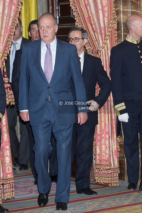 Spanish King Juan Carlos and Spanish Queen Sofia accompanied by Cristina Garmendia, Minister of Science and Innovation attend the National Awards For Reserach 2009, awarded by the Ministry of Science and Innovation at the Royal Palace in Madrid