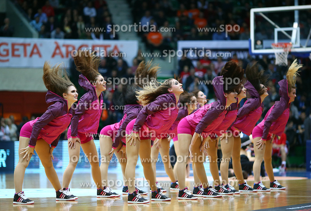 03.12.2015, KC Drazen Petrovic, Zagreb, CRO, FIBA, EL, KK Cedevita vs Anadolu Efes Istanbul, Gruppe B, 8. Runde, im Bild Cheerleader // during the group B, 8th round match of the Turkish Airlines Basketball Euroleague between KK Cedevita and Anadolu Efes Istanbul at the KC Drazen Petrovic in Zagreb, Croatia on 2015/12/03. EXPA Pictures &copy; 2015, PhotoCredit: EXPA/ Pixsell/ Slavko Midzor<br /> <br /> *****ATTENTION - for AUT, SLO, SUI, SWE, ITA, FRA only*****