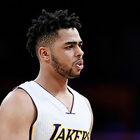 26 March 2016: Los Angeles Lakers guard D'Angelo Russell (1) is seen during the Portland Trail Blazers 97-81 victory over the Los Angeles Lakers, at the Staples Center, Los Angeles, California, USA.