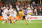Cambridge Utd midfielder Luke Berry (8) gets in an acrobatic shot during the EFL Sky Bet League 2 match between Cambridge United and Luton Town at the R Costings Abbey Stadium, Cambridge, England on 27 August 2016. Photo by Nigel Cole.