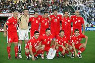12.09.2007, Olympic Stadium, Helsinki, Finland..UEFA European Championship 2008.Group A Qualifying Match Finland v Poland.Poland starting line-up, back row, left to right: Mariusz Lewandowski, Artur Boruc, Radoslaw Sobolewski, Pawel Golanski, Grzegorz Rasiak, Dariusz Dudka, Mariusz Jop..Front row, l to r: Michal Zewlakow, Jacek Krzynowek, Eusebiusz Smolarek, Jakub Blaszczykowski..©Juha Tamminen.....ARK:k