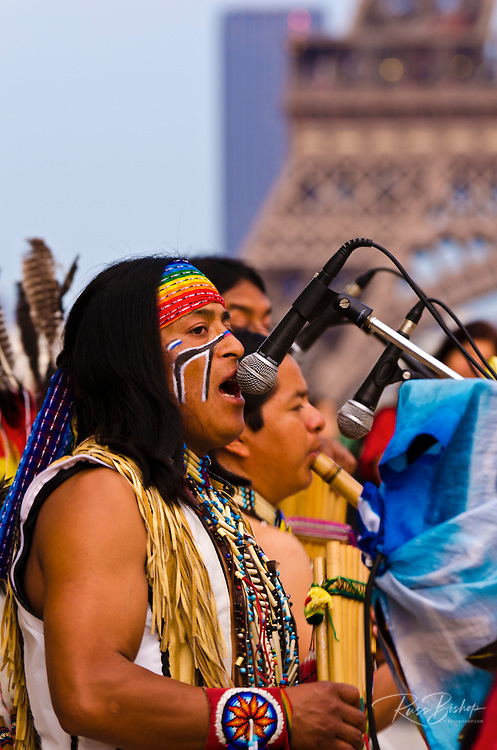 Native American performers at Trocadero Square (Eiffel Tower in background), Paris, France