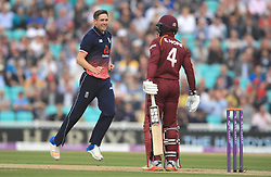EnglandÕs Chris Woakes celebrates removing West IndiesÕ Shai Hope for 11 during the Fourth Royal London One Day International at the Kia Oval, London.