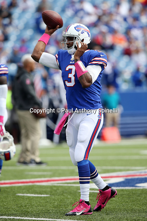 Buffalo Bills quarterback EJ Manuel (3) throws a pregame pass before the 2015 NFL week 4 regular season football game against the New York Giants on Sunday, Oct. 4, 2015 in Orchard Park, N.Y. The Giants won the game 24-10. (©Paul Anthony Spinelli)